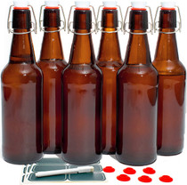 Classic Swing Top Glass Bottles with Lids - Set of 6, 16oz, Flip Top Stoppers- Second Fermentation, Limoncello, Kombucha, Water Kefir, Brewing Beer