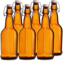 CASE of 6-16 oz. Easy Cap Beer Bottles - Amber