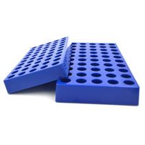 Tisch Scientific Blue Polypropylene HPLC Vial Rack Holds 50 Standard 12mm 2mL Chromatography Vials - Pack of 5