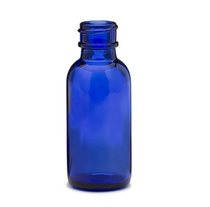 1 oz (30ml) Blue Boston Round Glass Bottle 20-400 neck finish