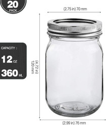 20 PACK -Mason Jars 12 oz With Regular Lids and Bands, Ideal for Jam