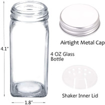 36 Glass Spice Jars with 396 Spice Labels, Chalk Marker and Funnel Complete Set. 36 Square Glass Jars 4 OZ, Airtight Cap, Pour/Sift Shaker Lid