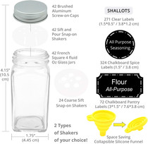 42 Glass Spice Jars Complete Set: 667 Chalkboard & Clear Printed Spice & Pantry Labels - 4 fl Oz