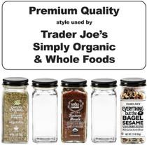 Premium Spice Jar Set -12 Square Glass 4 oz Spice Bottles, 72 Deluxe Labels, 12 Shaker Tops, Black Enameled Steel Caps and No Clog Wide Spice Funnel