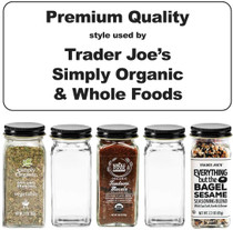 Premium Spice Jar Set -12 Square Glass 4 oz Spice Bottles, 72 Deluxe Labels, 12 Shaker Tops, Black Enameled Steel Caps and No Clog Wide Spice Funnel