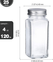 25 PCS 4oz Empty Square Spice Bottles with Shaker Lids and Airtight Metal Caps - 662 Spice Labels
