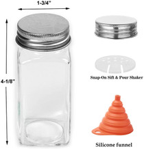25 Pcs Glass Spice Jars- Square Glass Containers With Square Empty Jars 4oz, Airtight Cap, Chalkboard & Clear Label, Shaker Insert Tops and Wide Funnel - Complete Organizer Set