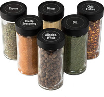 All Spice 4 Ounce Glass Spice Jars with Black Plastic Lids and 3 Styles of Shaker Tops- 6 Pack