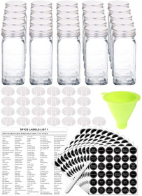 25 Glass Spice Jars with 396 Spice Labels, Chalk Marker and Funnel Complete Set. 25 Square Glass Jars 4OZ, Airtight Cap, Pour/sift Shaker Lid