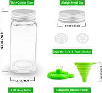 12 Pcs Glass Spice Jars 4oz Empty Square Spice Bottles with Sift Pour & Shaker Lids, Airtight Cap, Spice and Pantry Labels