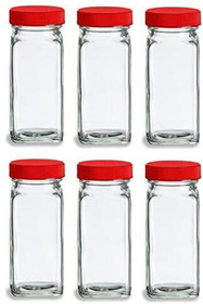 French Square Glass Spice Jars with Shaker Fitmens and Caps (6, 4 oz Red)