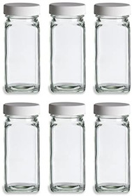 French Square Glass Spice Jars with Shaker Fitmens and Caps (6, 4 oz White)