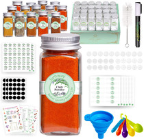 24 Pcs Glass Spice Jars with Spice & Pantry labels - 4oz Empty Square Spice Containers Bottles Shaker Lids and Airtight Metal Caps - Measuring Spoons Set and Silicone Funnel Included