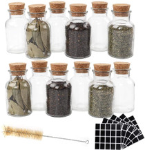 12pcs 150ml Glass Spice Jars Reusable Spice Jars Bottles Glass Containers with Cork 100pcs Blank Square Stickers 1pcs Test Tube Brush