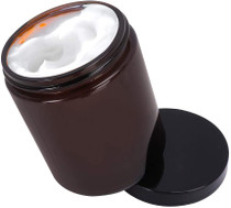 12 Pack 8 oz Amber Glass Jars with Black Lids,Round Jars for Cosmetics and Face cream Lotion