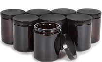 Amber, 8 ounce, Round Glass Jars, with Black Lids, Jars for Cosmetics and Face cream Lotion
