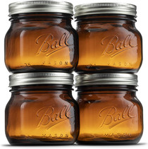 Ball Amber Glass Wide Mouth Mason Jars (16 oz/Pint) With Airtight lids and Bands [4 Pack] Amber Canning Jars - Microwave & Dishwasher Safe. Bundled With Jar Opener