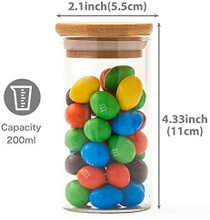 10 Bottles Glass Jar Set, Small Air Tight Canister Storage Containers with Natural Bamboo Lids and Chalkboard Labels for Kitchen, Bathroom, Home Decor, Party Favors (200ML)