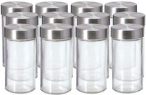 Empty Jars, Set of 12, 3 Ounce, Silver Cap