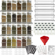 4 Spice Racks with 24 Glass Spice Jar & 2 Types of Printed Spice Labels by Talented Kitchen. Complete Set: 4 Wall Mount Stainless Steel Racks, 24 Square Empty Glass Jars 4oz, Chalkboard & Clear Label
