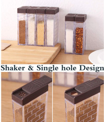 Spice Shaker Jars, Seasoning Shaker Box Condiment Set, Seasoning Storage Containers,Brown