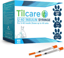 "U40 Pet Insulin Syringes with Needle 29 G 1 cc 12.7 mm 1/2"" 100-Pack – Latex-Free Diabetic Syringes"