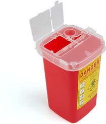 Medical Sharps Disposal Container: 5-Pack Biohazard Needle Container 1-Quart Size