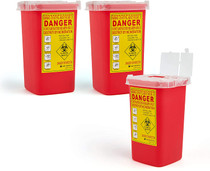 Medical Sharps Disposal Container: 3-Pack Biohazard Needle Container 1-Quart Size | Lock Containers for Disposal of Syringes, Blades & Lancets| Top Tattoo Supplies Disposal Kit