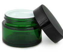 12, Green, 1 oz, Round Glass Jars, with Inner Liners and black Lids