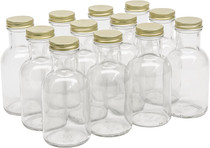 8  Ounce Glass Stout Sauce Bottle - With 38mm Gold Metal Lids - Case of 12