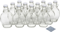 8 Ounce Glass Maple Syrup Bottles with Loop Handle & White Metal Lids & Shrink Bands - Case of 12