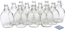 12 Ounce Glass Maple Syrup Bottles with Loop Handle & White Metal Lids & Shrink Bands - Case of 12