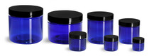 4 oz cobalt blue PET single wall jar with 70-400 neck finish w/ Black Plastic Caps - Pack of 12