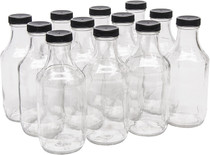 16 Ounce Glass Sauce Bottle - With 38mm Black Plastic Lids - Case of 12