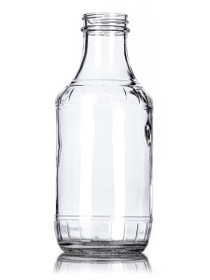 16 oz clear glass sauce bottle with 38-400 neck finish - Case of 60 (With Black Lids)