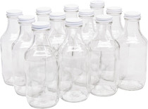16 Ounce Glass Sauce Bottle - With 38mm White Metal Lids - Case of 12