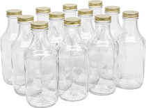 16 Ounce Glass Sauce Bottle - With 38mm White Gold Lids - Case of 12