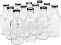 16 Ounce Glass Sauce Bottle - With 38mm Black Metal Lids - Case of 12