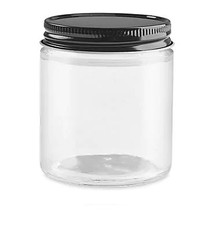 Straight-Sided Glass Jars - 4 oz, Black Metal Lid - 24/case