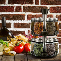 12-Jar Revolving Spice Rack Organizer - Spinning Countertop Herb and Spice Rack Organizer with 12 Glass Jar Bottles (Spices Not Included)