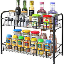 Spice Rack Organizer for Countertop, 2-Tier Metal Spice Organizer Standing Rack Shelf Storage Holder