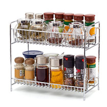 2-Tier Standing Spice Rack Kitchen Bathroom Countertop Storage Organizer Shelf Pantry Holder