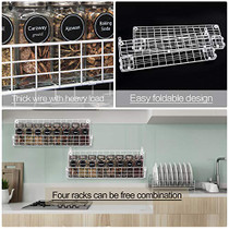 Spice Racks Organizer Wall Mounted 4-Tier Stackable Iron Wire Hanging Season Shelf Storage Racks,Great for Kitchen and Pantry Storing Spices