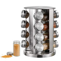 Spice Rack, kitchen rack with 16 Set of Spice Jars, Round Stainless Steel Spice Rack, Revolving Countertop Spice Rack tower