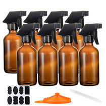 Glass Spray Bottle 8oz 8set, Spray Bottle for Cleaning Solutions, Moisturizing Spray and More