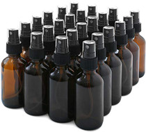 Glass Spray Bottles,  24 Pack 2oz Amber Glass Spray Bottle Set Fit for Essential Oils - Cleaning Products - Aromatherapy