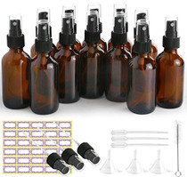 Glass Spray Bottles, 12 Pack 2oz Amber Glass Spray Bottle Set Fit for Essential Oils - Cleaning Products - Aromatherapy