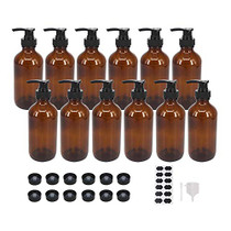 12 Pack 8 oz Amber Glass Bottles with Pumps for Essential Oils, Cleaning Products, Lotions, Aromatherapy Oil, Pump Bottles, Refillable Containers With Cap, Funnel, 12 Chalk Labels, 1 Pen
