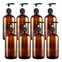 8Oz Amber Glass Pump Bottles 8 Pack, Empty Refillable Shampoo Bottles, Pump Lotion Foam Bottles Conditioner Dispenser