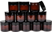12, Amber, 2 oz, Round Glass Jars, with Inner Liners and black Lids